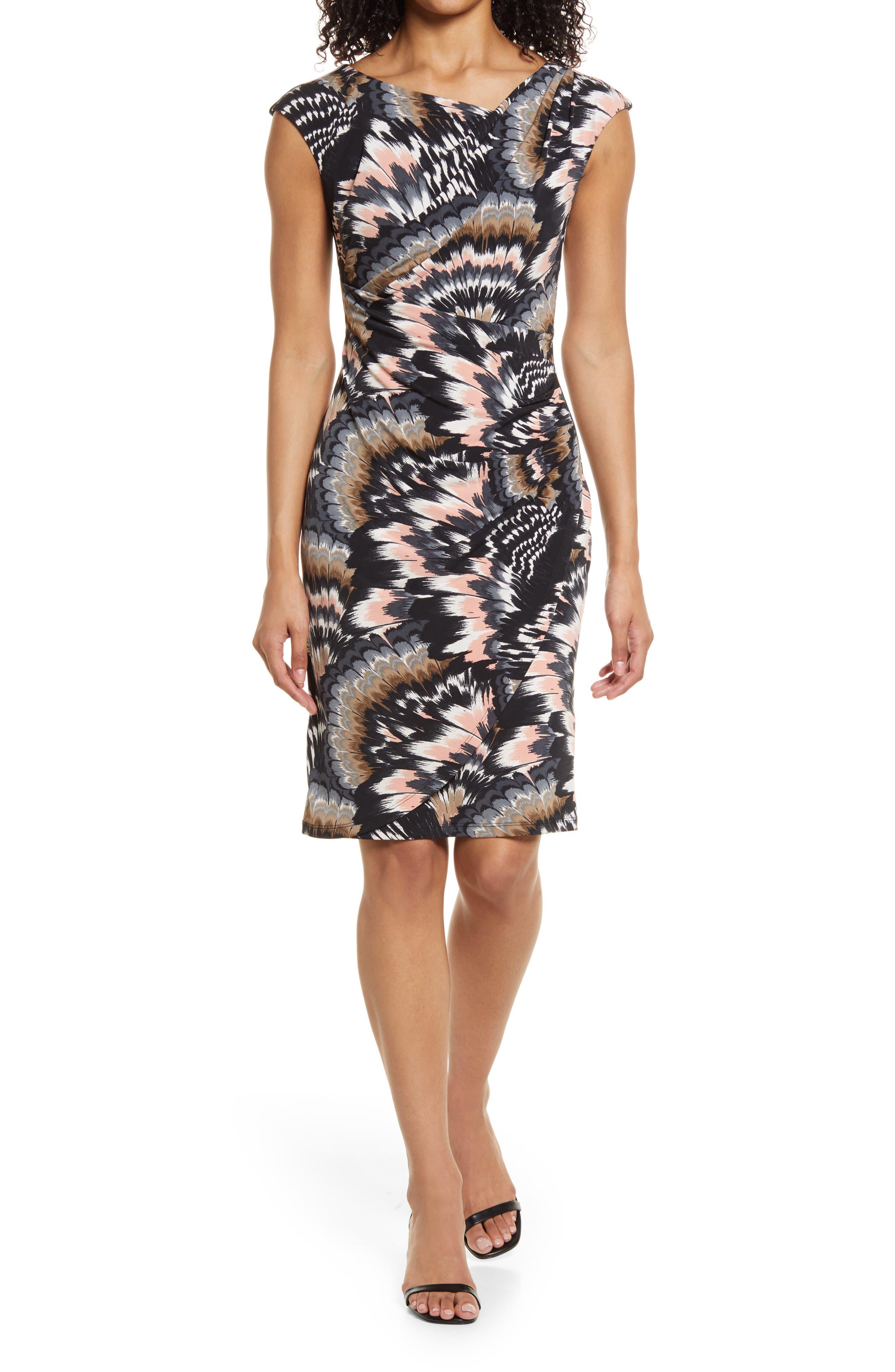 Feather Print Asymmetric Neck Knit Dress