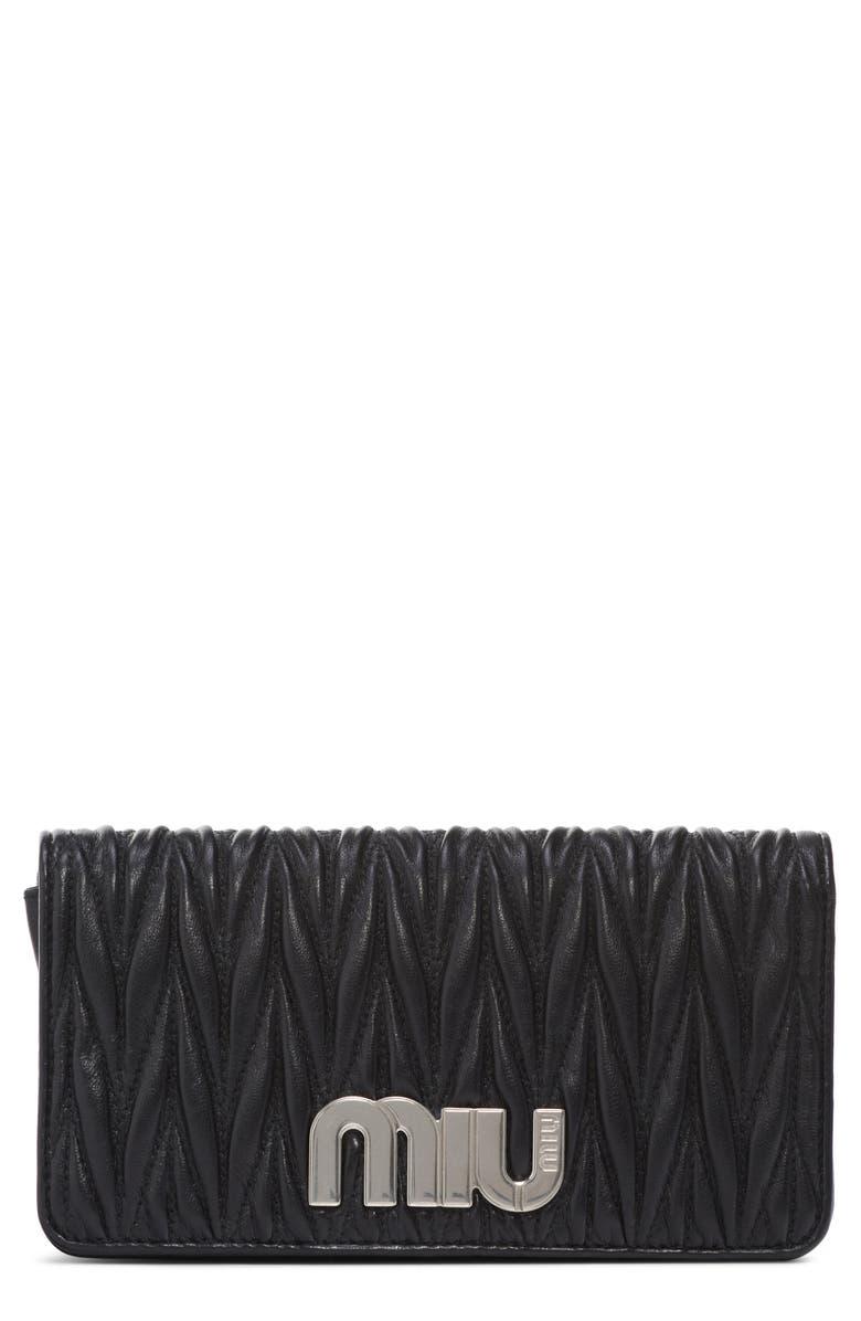 MIU MIU Matelassé Leather Wallet on a Chain, Main, color, NERO