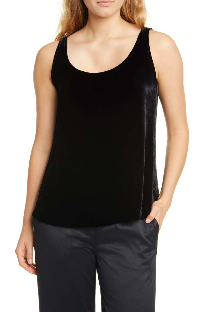 EILEEN FISHER Scoop Neck Velvet Tank, Main, color, 001