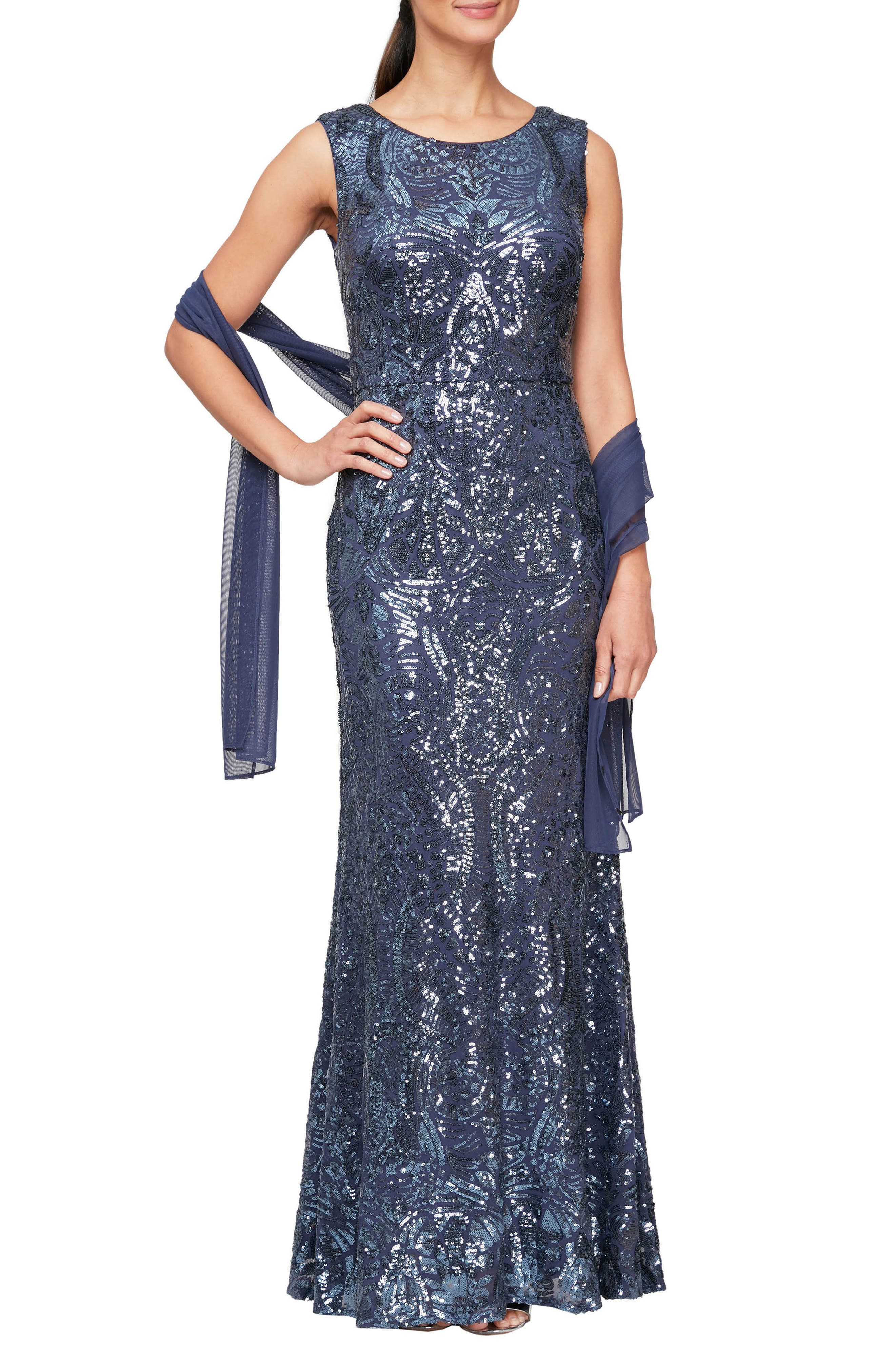 Sequin Trumpet Gown With Shawl