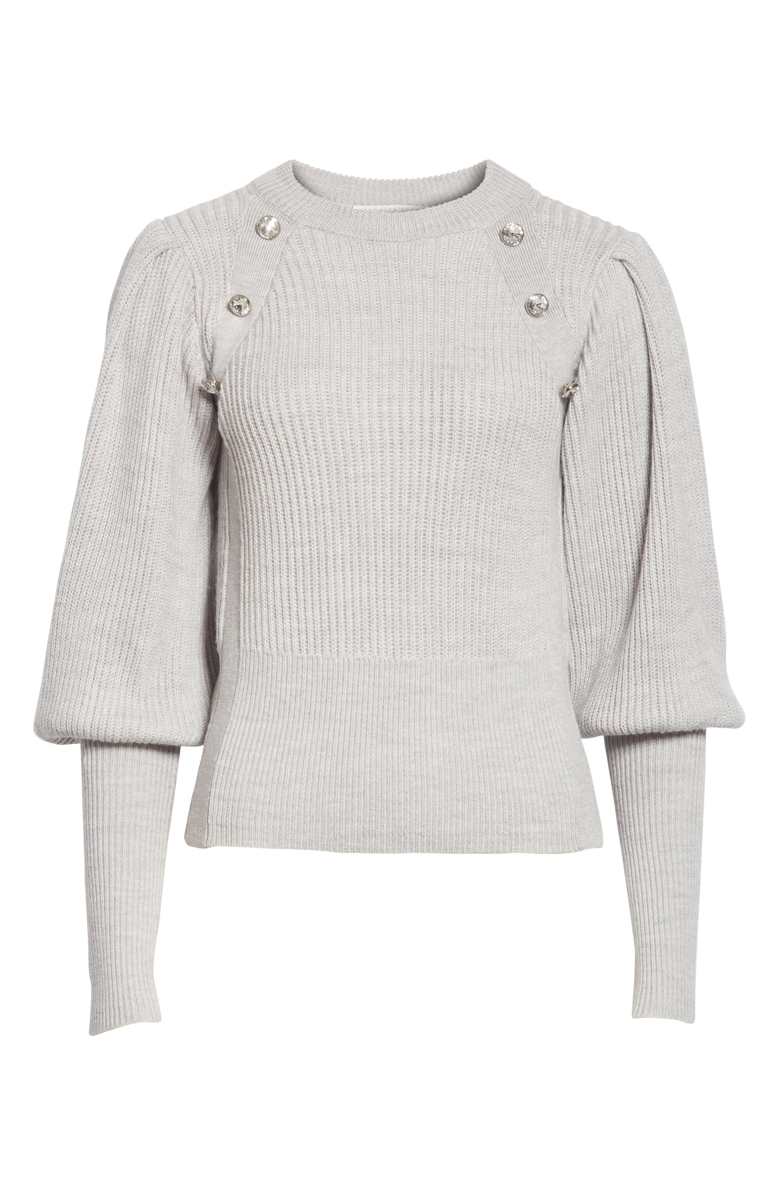 ,                             Jude Crystal Button Merino Wool Sweater,                             Alternate thumbnail 6, color,                             LIGHT GREY