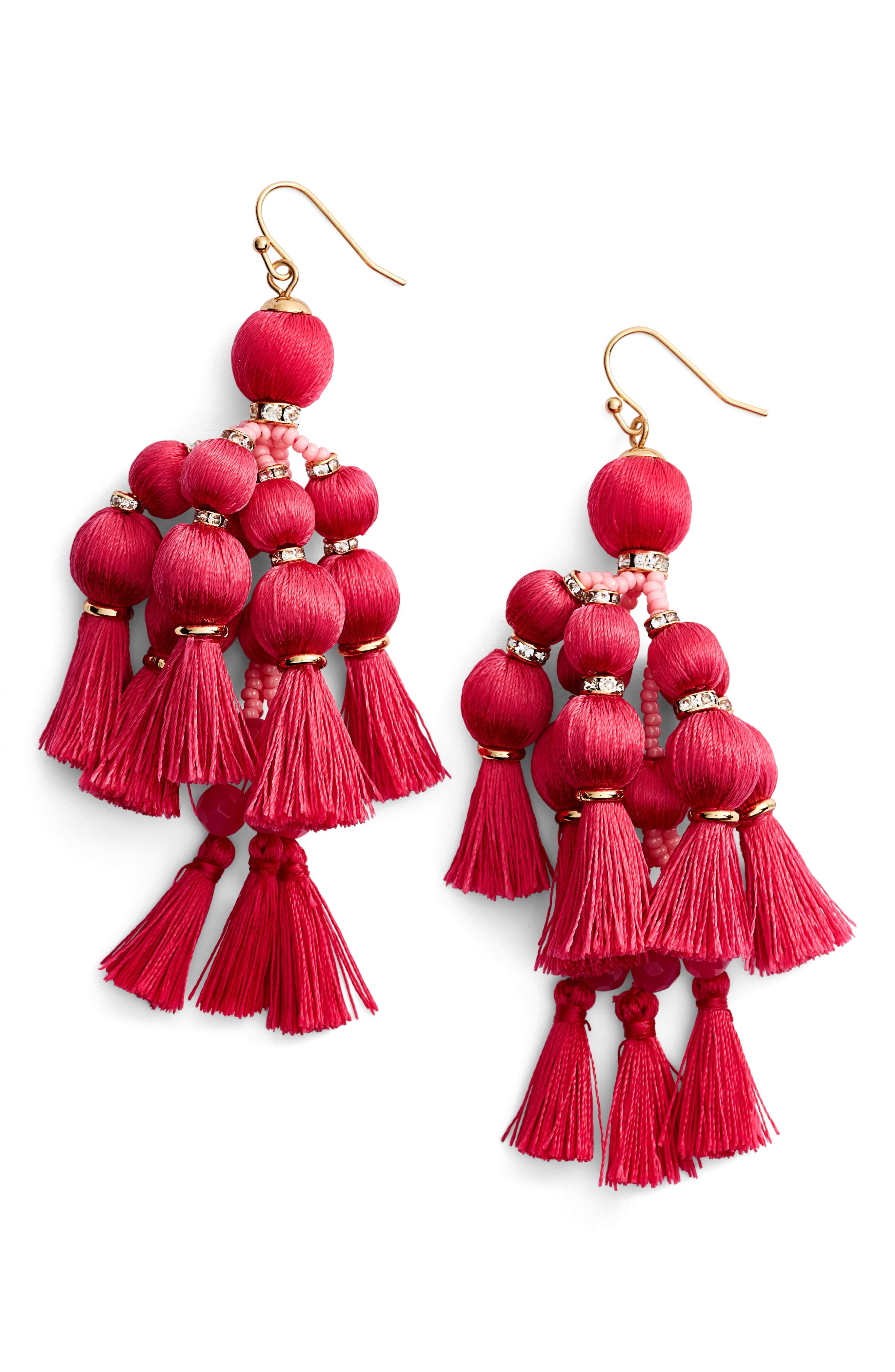 ,                             pretty pom tassel drop earrings,                             Main thumbnail 6, color,                             650