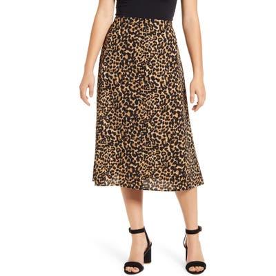 Loveappella Palm Print Midi Skirt