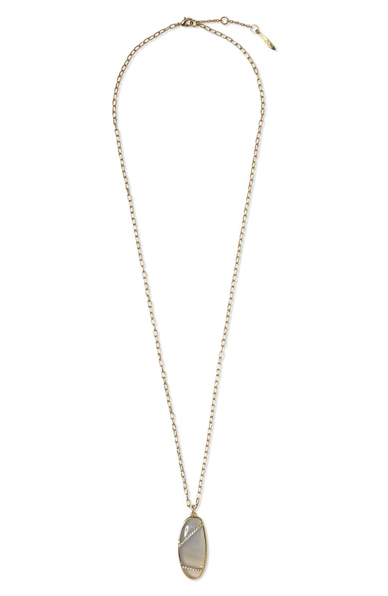 SOLE SOCIETY Agate Pendant Necklace, Main, color, 12K SOFT POL GLD/CRYS/BLU AGT