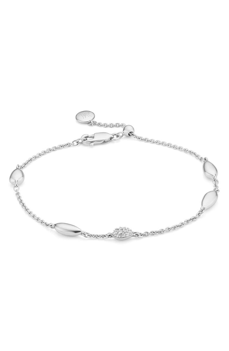 MONICA VINADER Nura Teardrop Diamond Bracelet, Main, color, SILVER/ DIAMOND