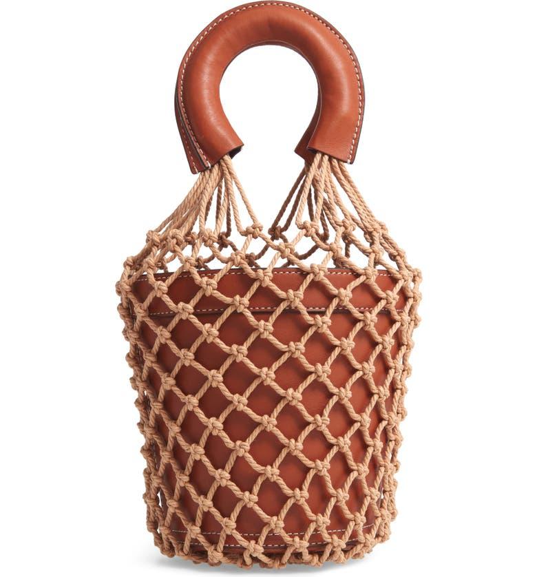 STAUD Staub Moreau Cage Bucket Bag, Main, color, BROWN