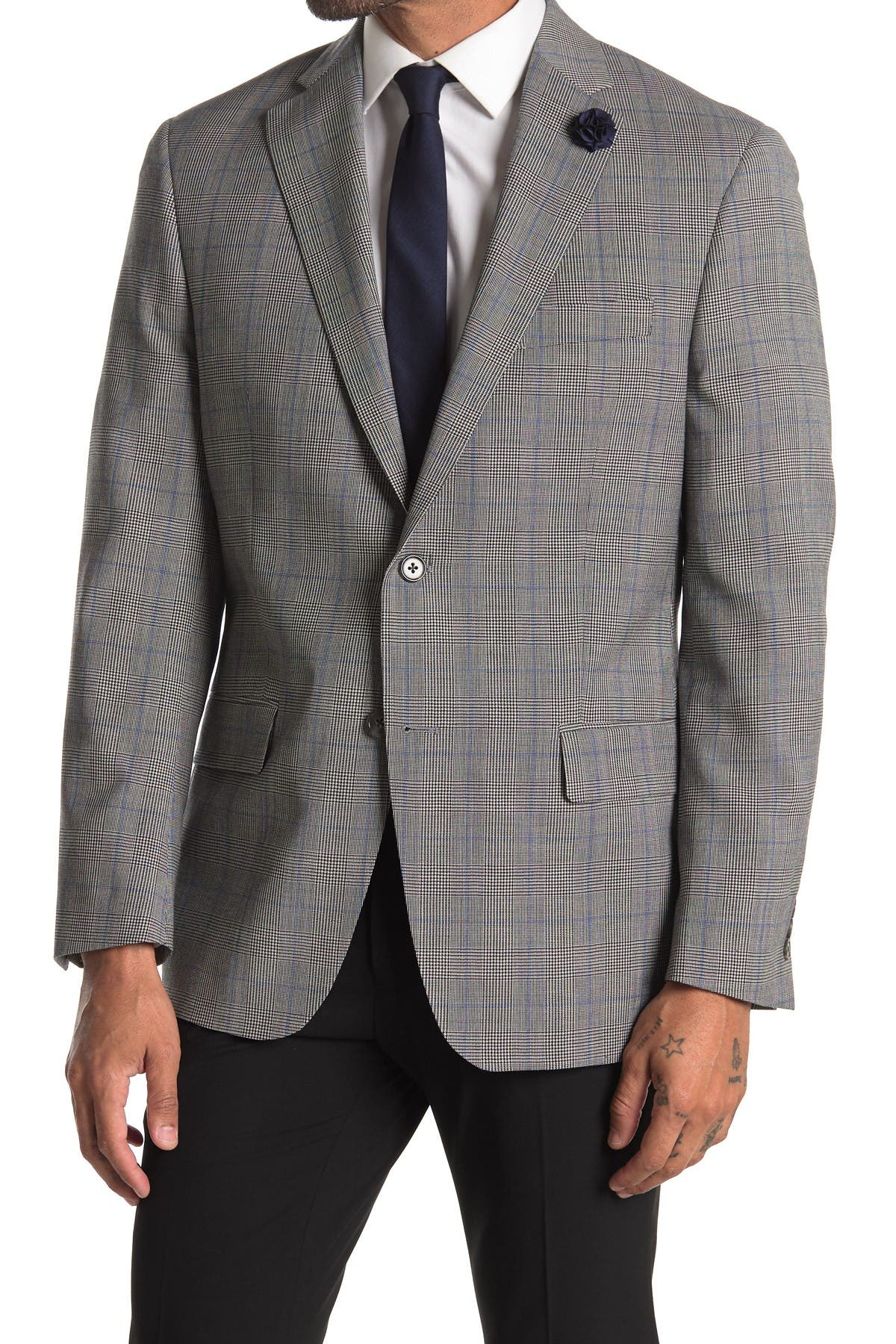 Image of Hart Schaffner Marx Black White Blue Windowpane Print Two Button Notch Lapel Wool Suit Separates Blazer