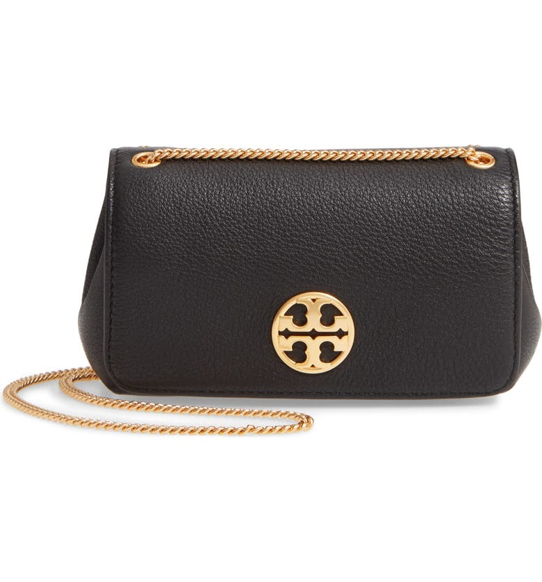TORY BURCH Chelsea Leather Evening Bag, Main, color, 001