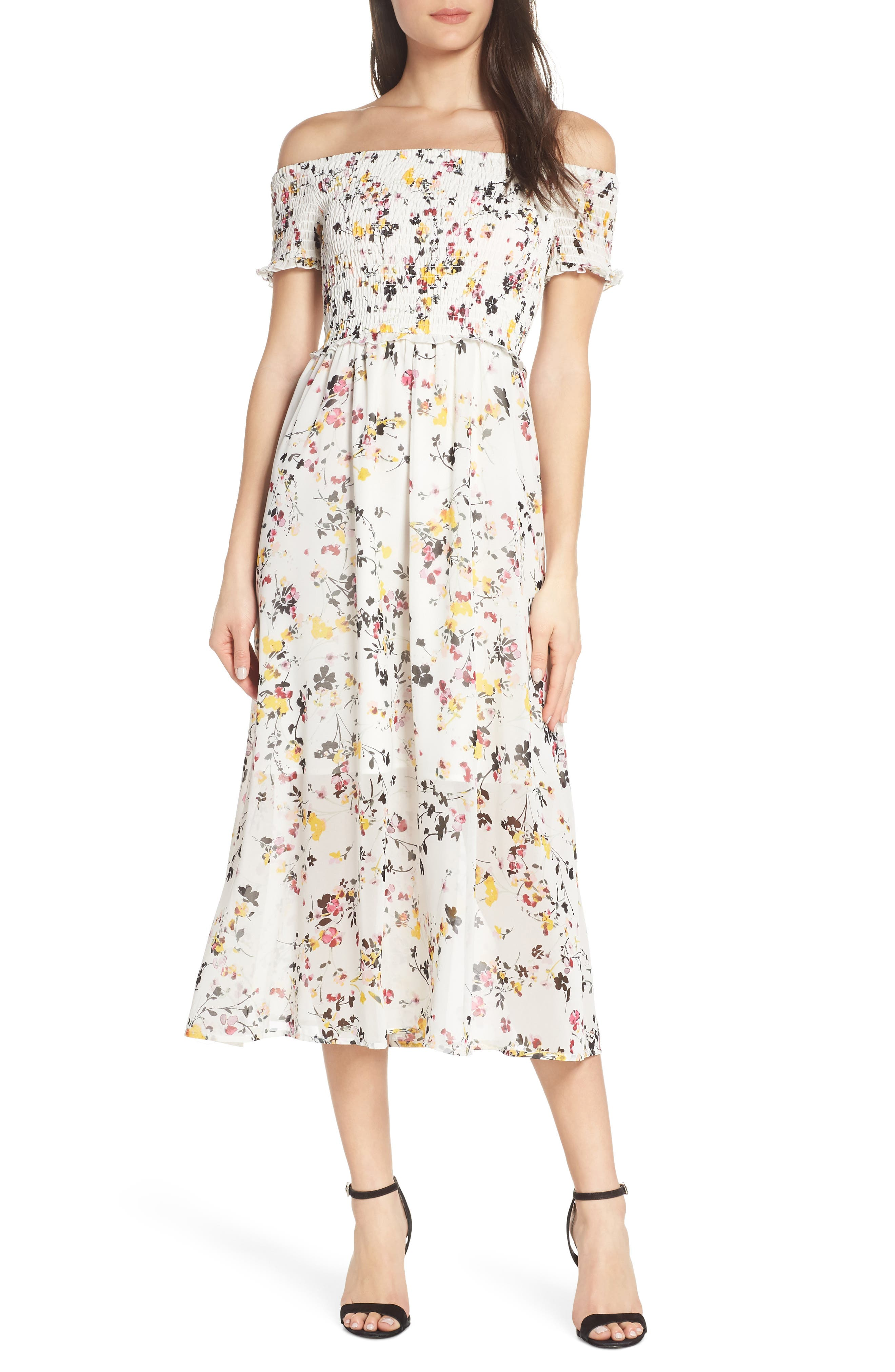 ,                             Floral Off the Shoulder Midi Dress,                             Main thumbnail 1, color,                             WHITE MULTI