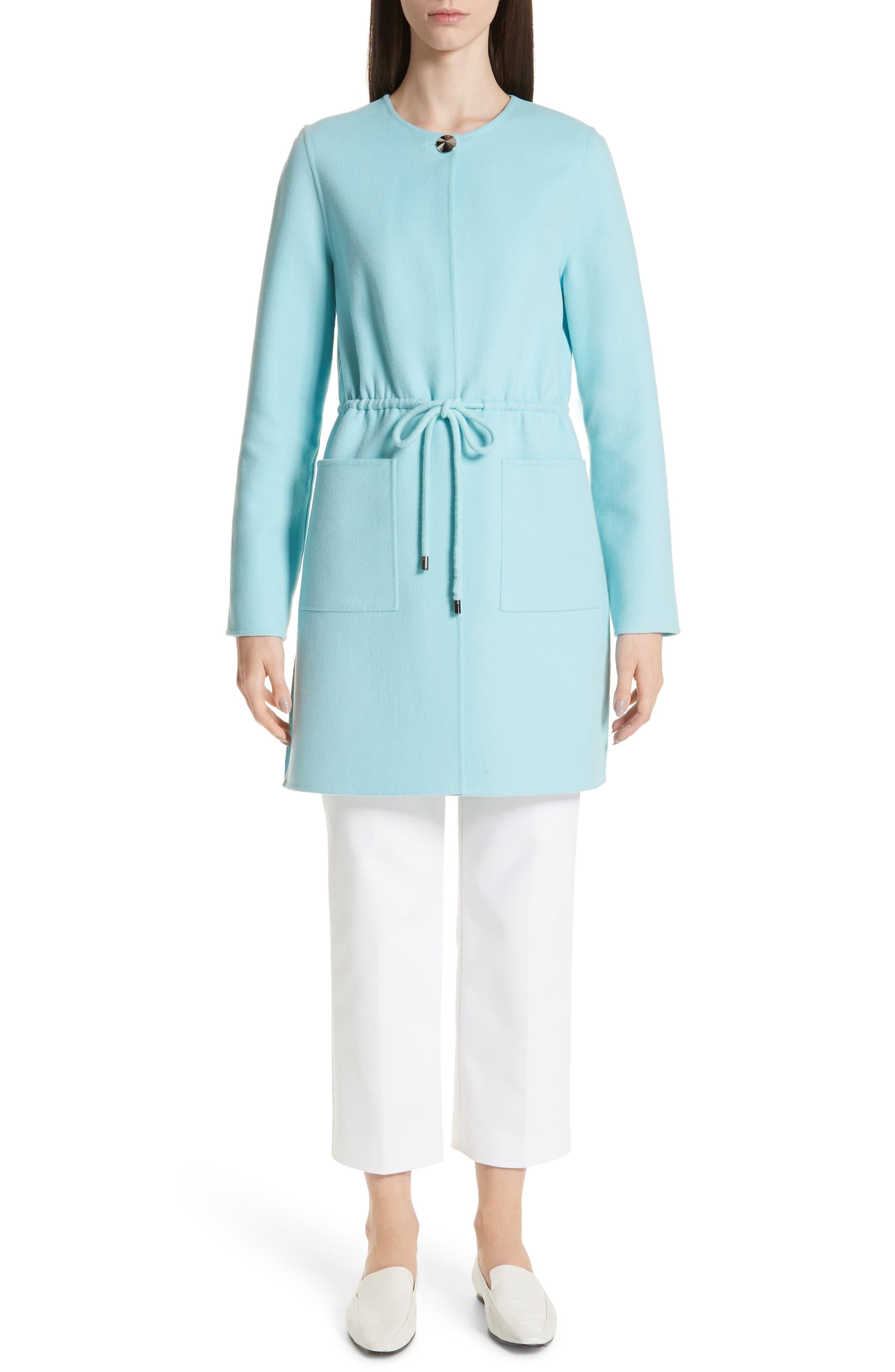 ,                             Double Face Wool & Cashmere Jacket,                             Alternate thumbnail 8, color,                             AQUAMARINE