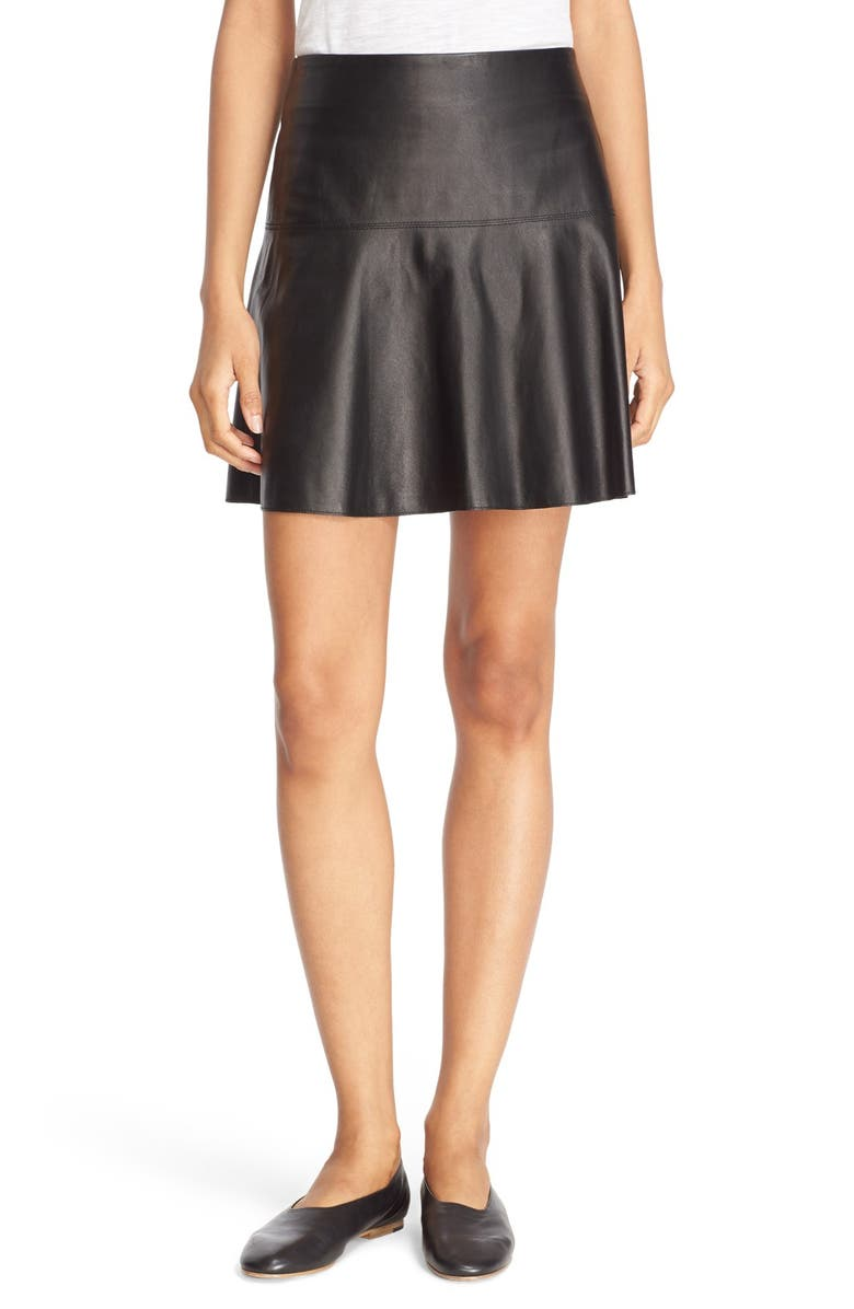 VINCE Flare Leather Skirt, Main, color, 001