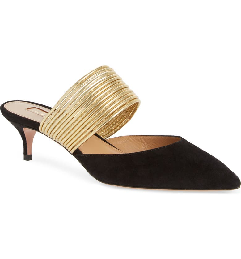 AQUAZZURA Rendez Vous Mule, Main, color, BLACK SUEDE