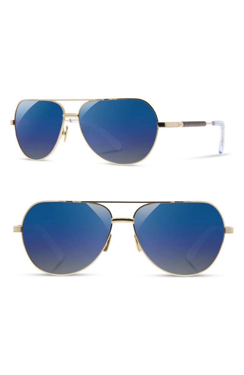 SHWOOD 'Redmond' 58mm Polarized Aviator Sunglasses, Main, color, GOLD/ EBONY / BLUE FLASH