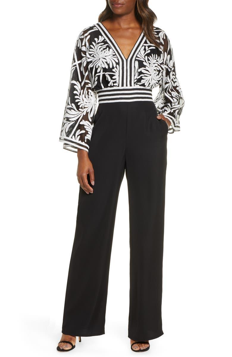 TADASHI SHOJI Lace Crepe Jumpsuit, Main, color, IVORY/ BLACK