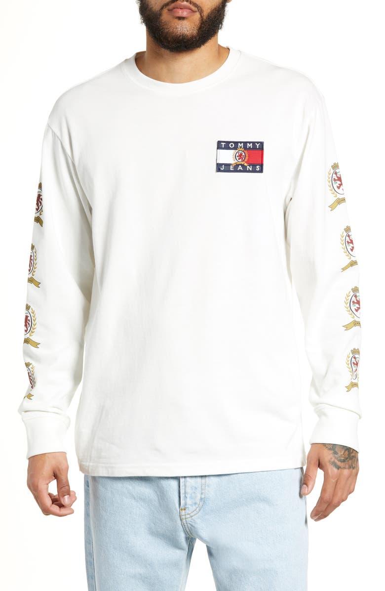 TOMMY JEANS Crest Logo Long Sleeve T-Shirt, Main, color, CLOUD DANCER