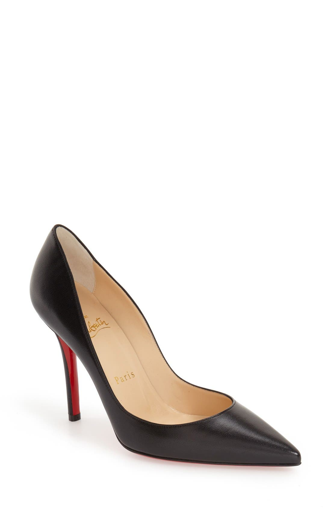 'Apostrophy' Pointy Toe Pump, Main, color, BLACK LEATHER