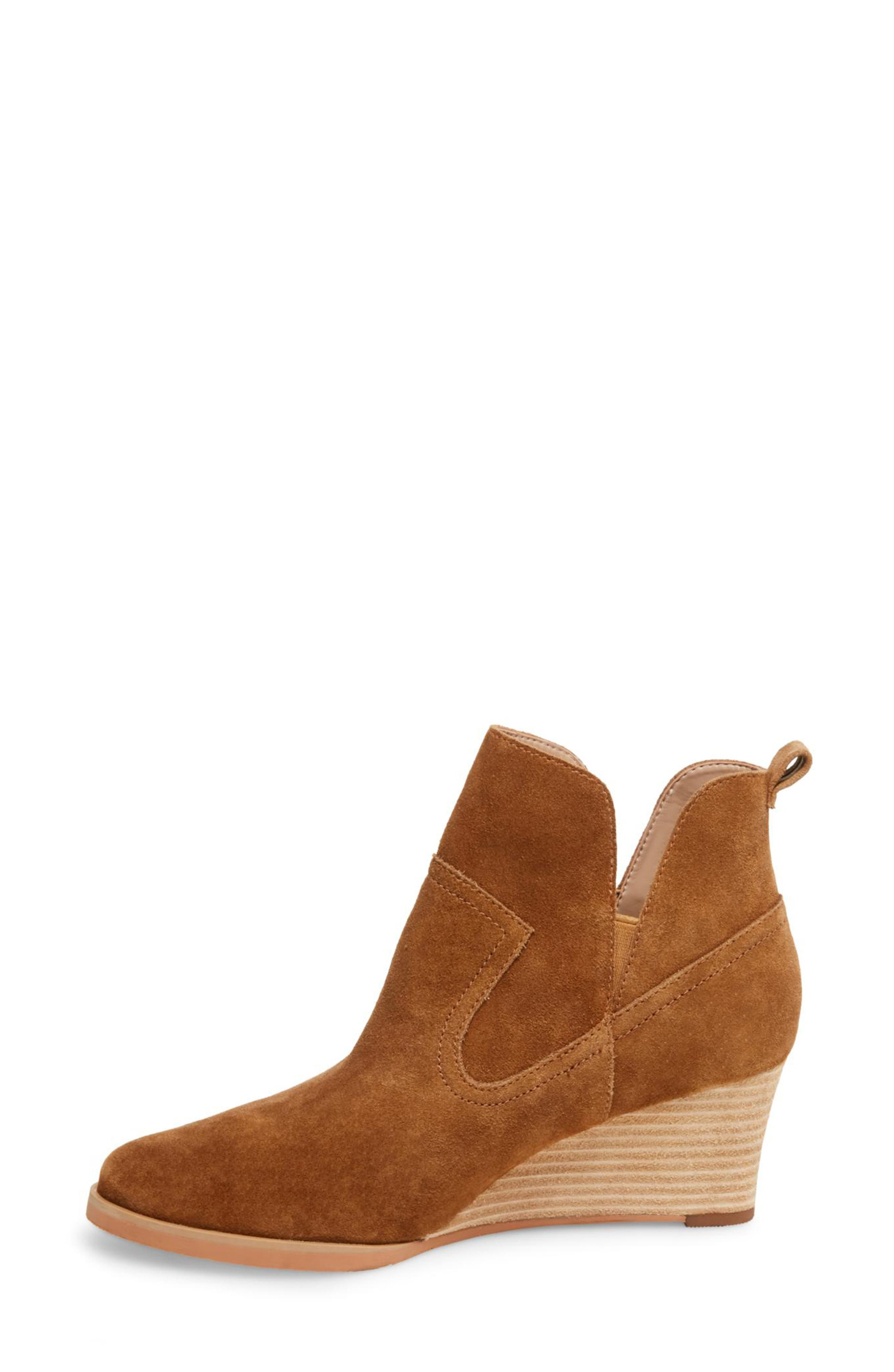 ,                             Irving Waterproof Wedge Bootie,                             Alternate thumbnail 9, color,                             CAMEL SUEDE