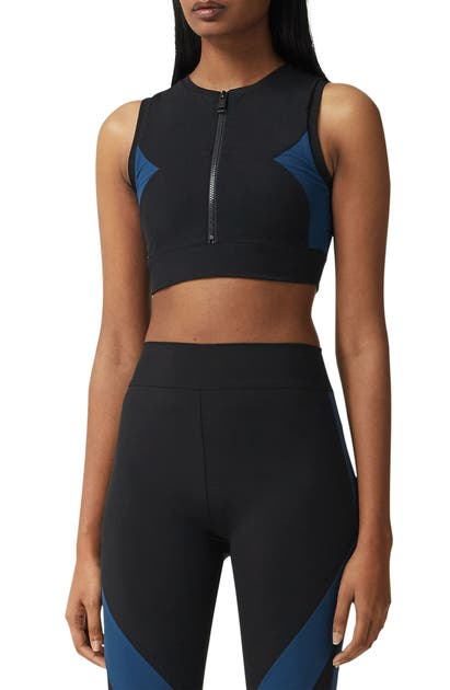 Burberry Tops QUINN COLORBLOCK STRETCH JERSEY CROP TOP