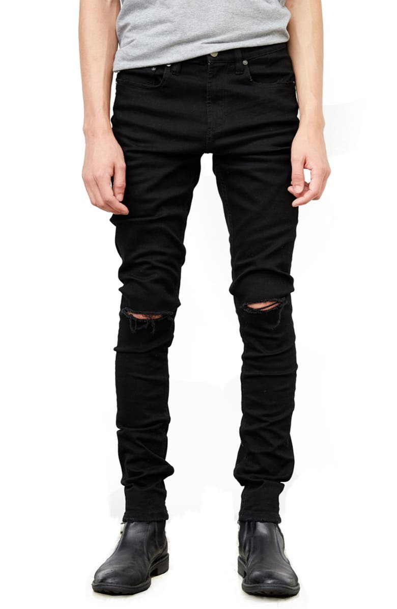BLANKNYC Horatio Distressed Skinny Fit Jeans, Main, color, 001