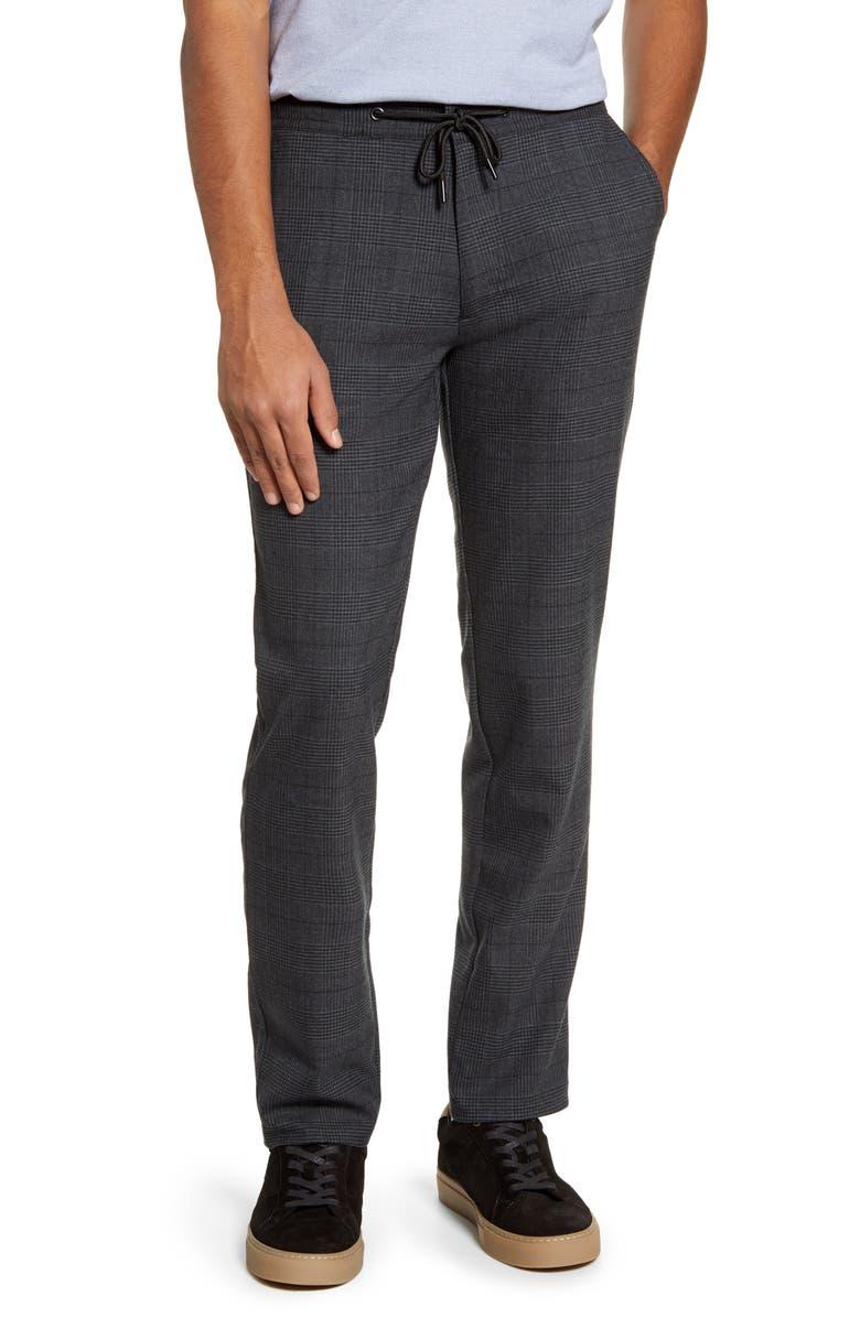 ROBERT BARAKETT Warren Drawstring Plaid Wool Blend Trousers, Main, color, CHARCOAL