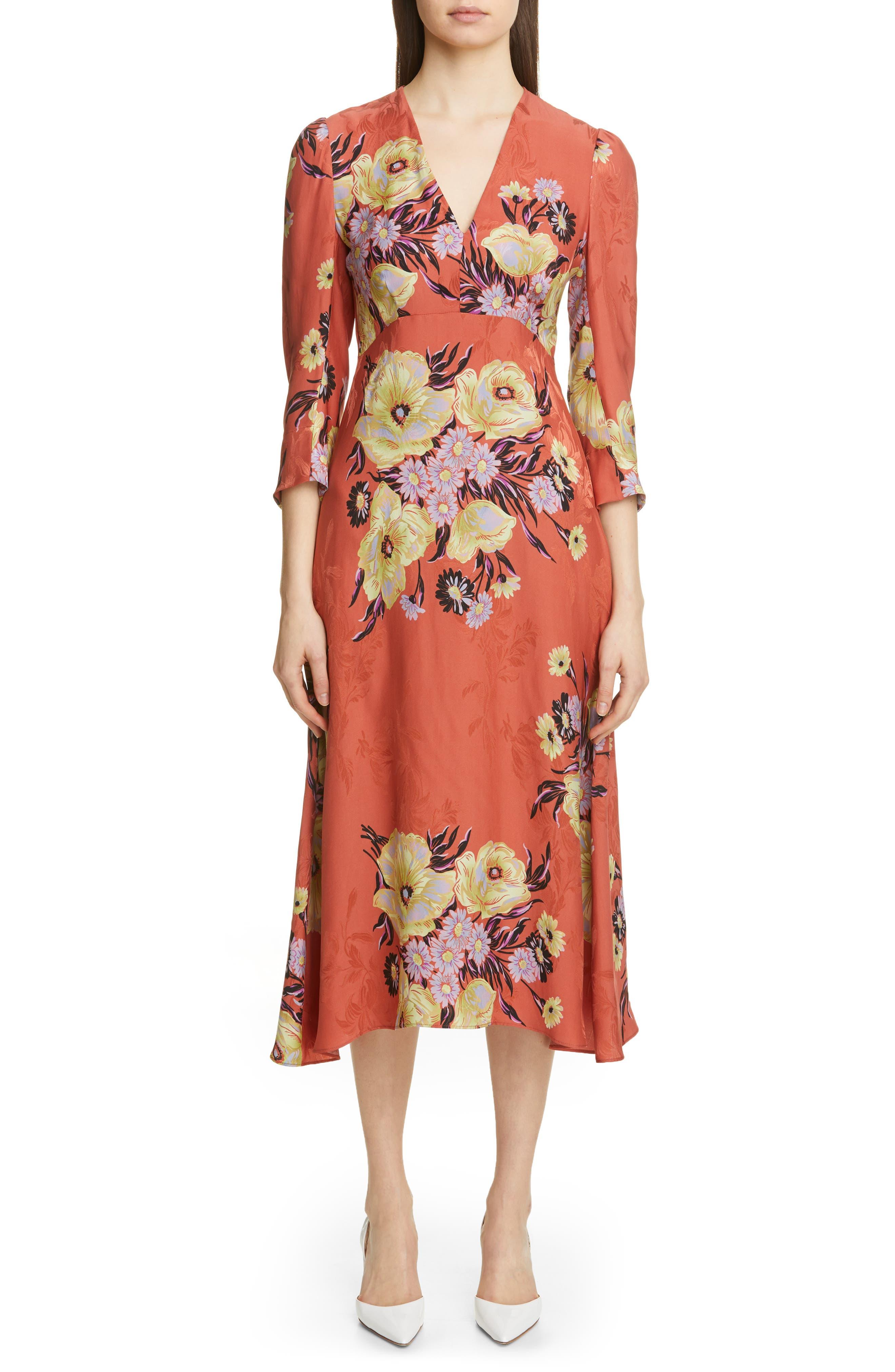 Etro Floral Jacquard A-Line Midi Dress, US / 48 IT - Orange