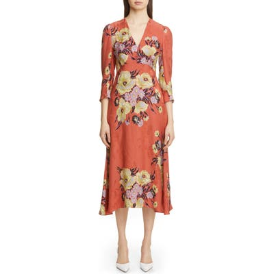 Etro Floral Jacquard A-Line Midi Dress, US / 48 IT - Orange