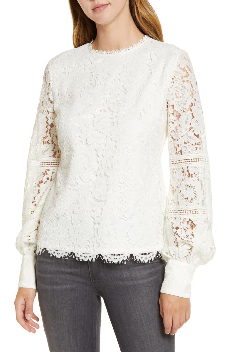 RACHEL PARCELL Bishop Sleeve Scalloped Lace Top, Main, color, IVORY