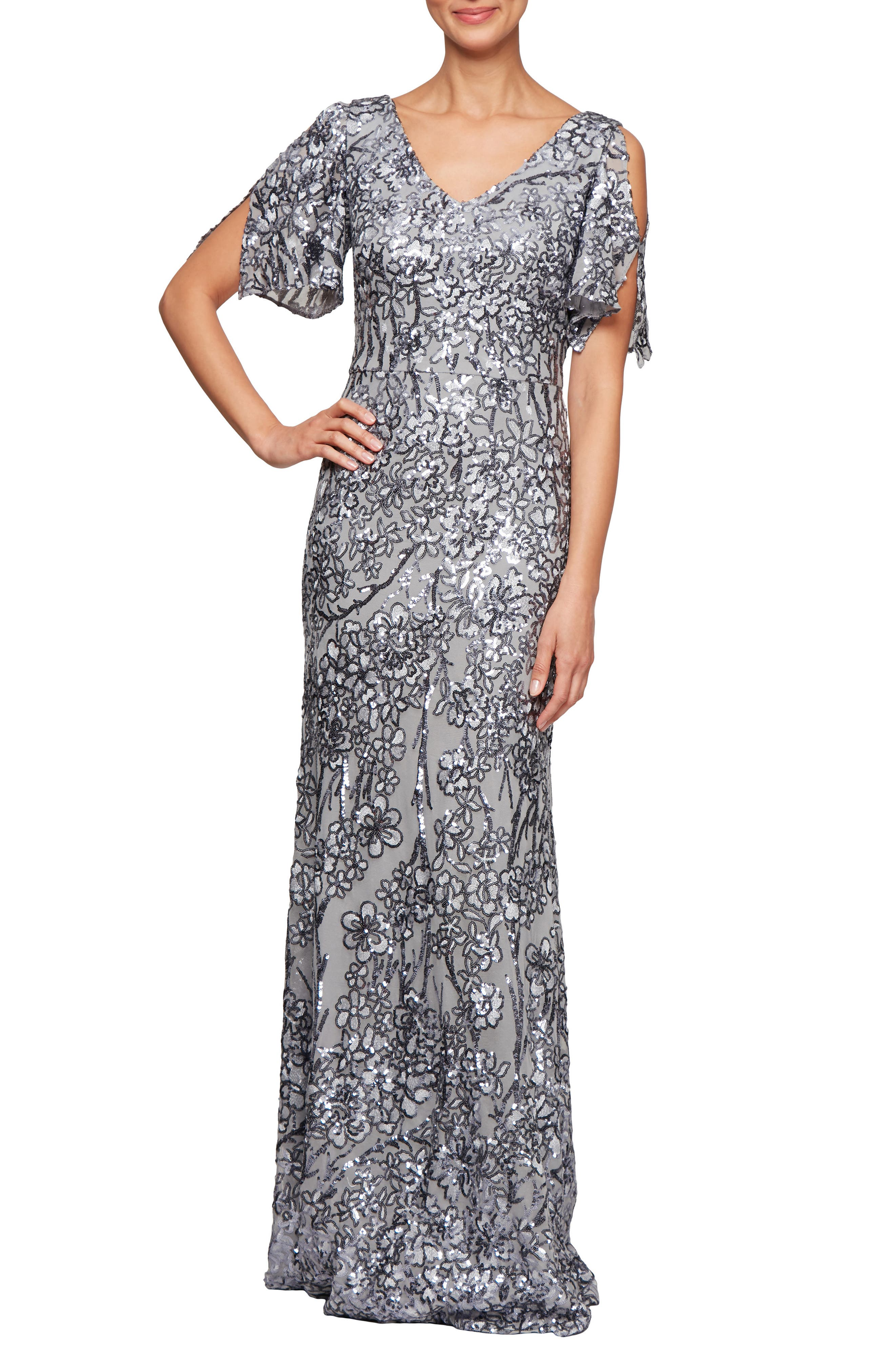 Great Gatsby Dress – Great Gatsby Dresses for Sale Petite Womens Alex Evenings Sequin Lace Cold Shoulder Trumpet Gown Size 16P - Metallic $239.00 AT vintagedancer.com