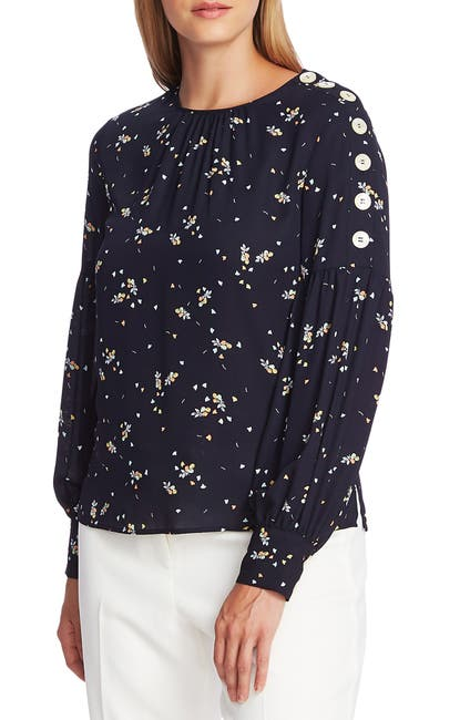 Image of Vince Camuto Whimsical Petal Button Shoulder Bubble Sleeve Top