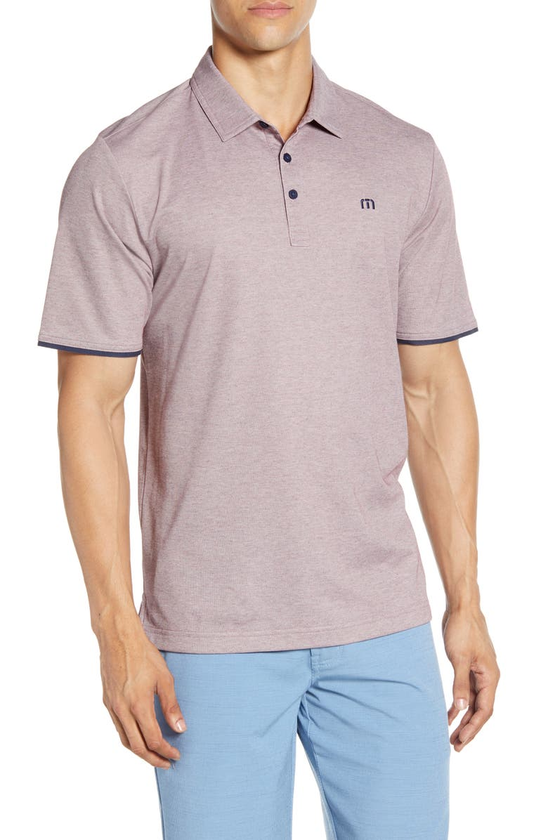 TRAVISMATHEW Point Taken Piqué Polo, Main, color, HEATHER TAWNY PORT