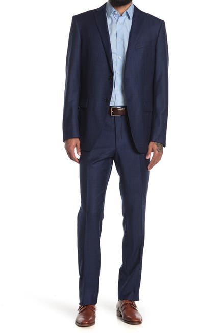 Image of John Varvatos Collection Navy Plaid Two Button Notch Lapel Wool Suit
