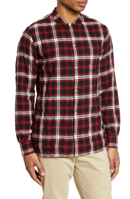Image of Officine Generale Plaid Button-Up Flannel Shirt