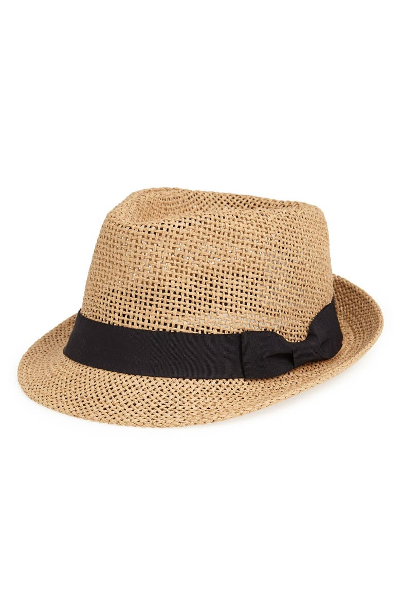 AMICI ACCESSORIES Straw Fedora, Main, color, 250