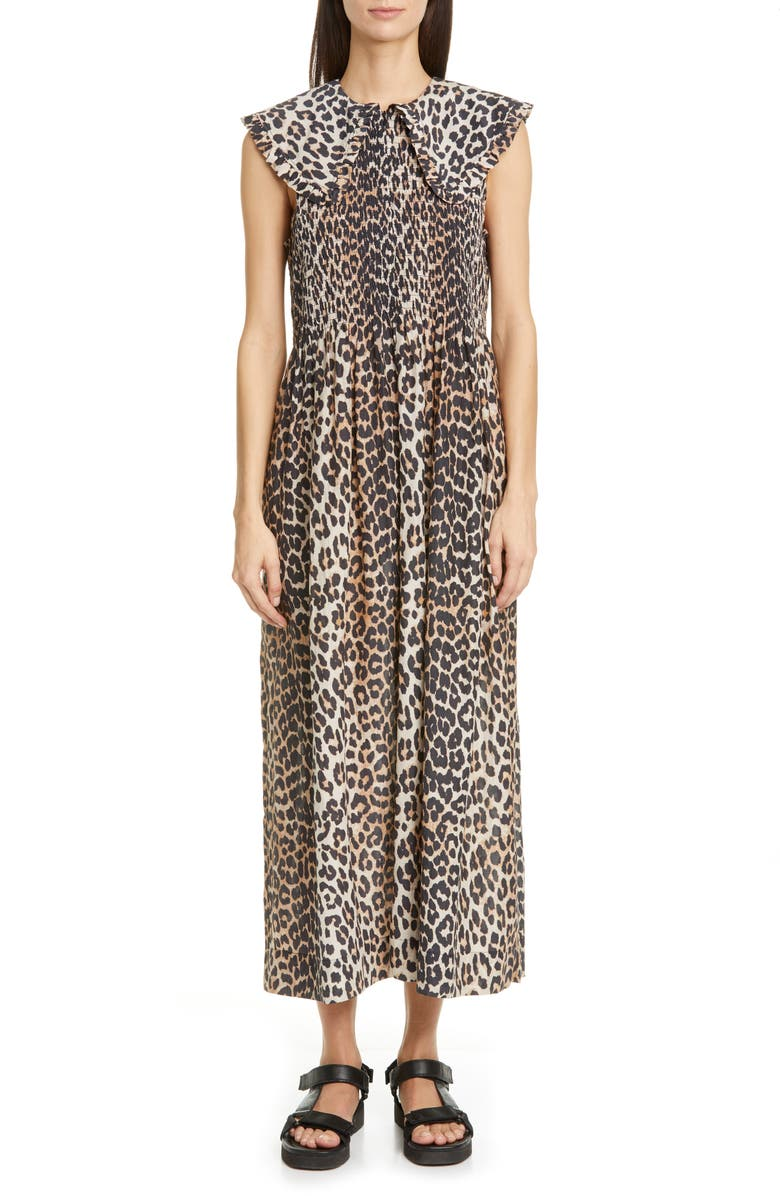 GANNI Ruffle Collar Leopard Print Maxi Dress, Main, color, LEOPARD