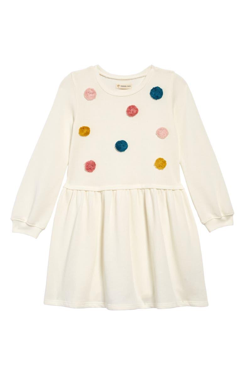 TUCKER + TATE Pompom Sweatshirt Dress, Main, color, IVORY EGRET