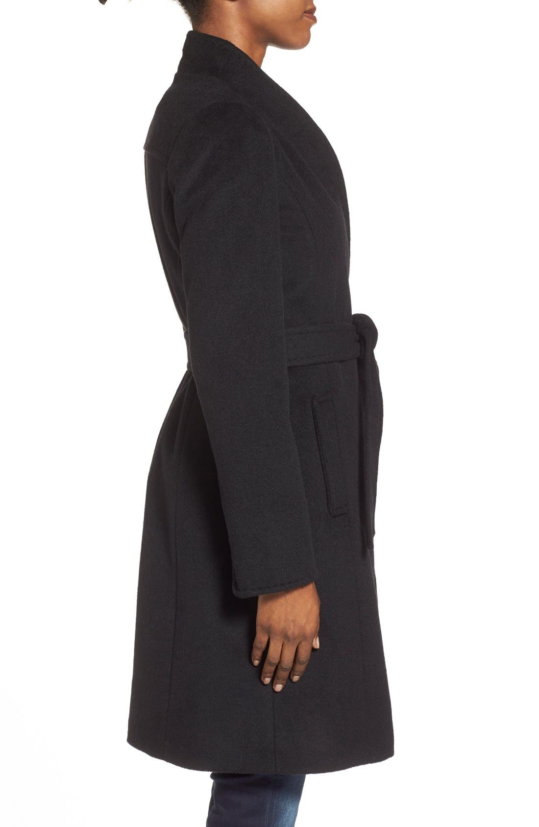 ,                             Belted Wool Blend Stand CollarCoat,                             Alternate thumbnail 7, color,                             001