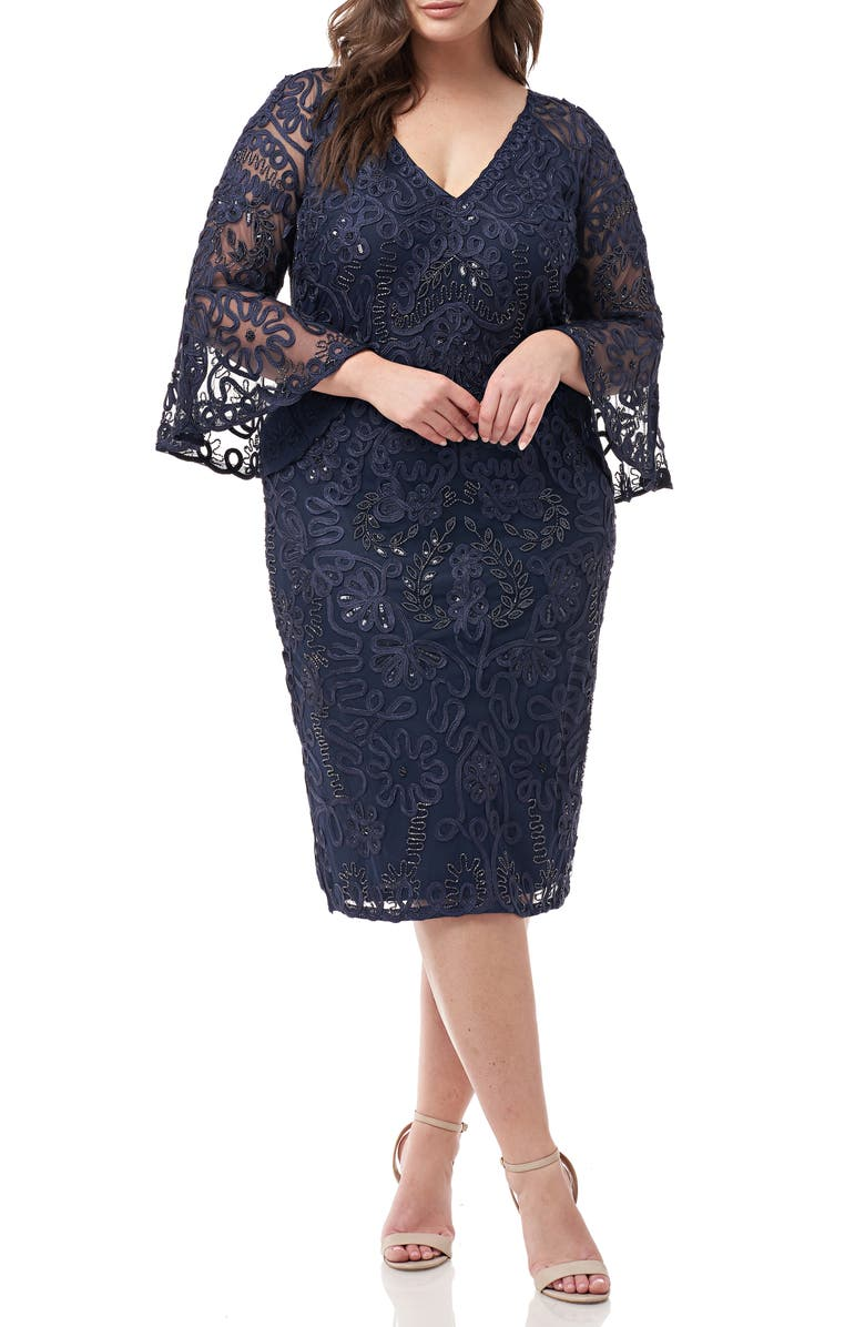 JS COLLECTIONS Bell Sleeve Mesh Shift Dress, Main, color, NAVY