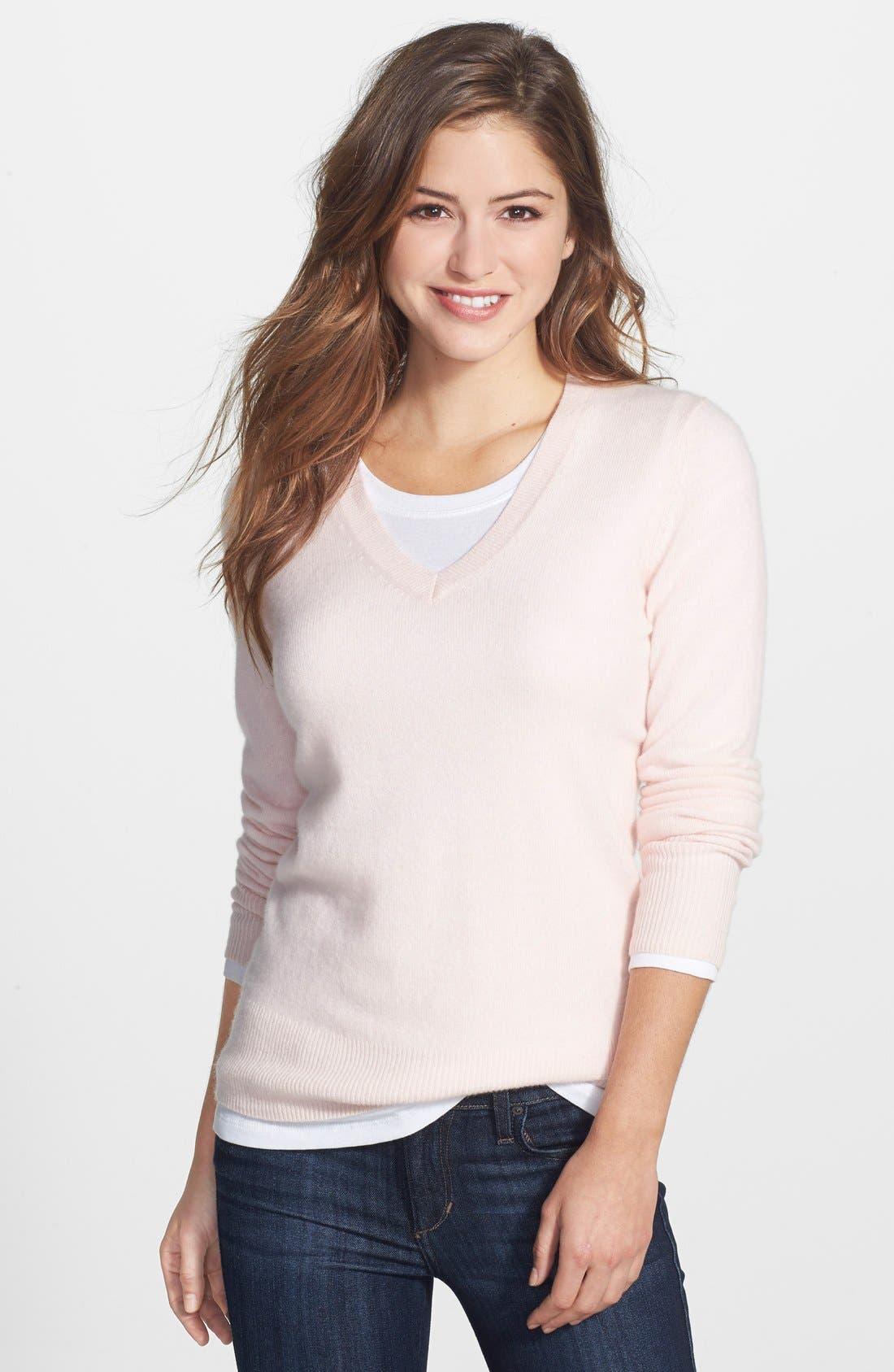 ,                             Cashmere V-Neck Sweater,                             Main thumbnail 74, color,                             651