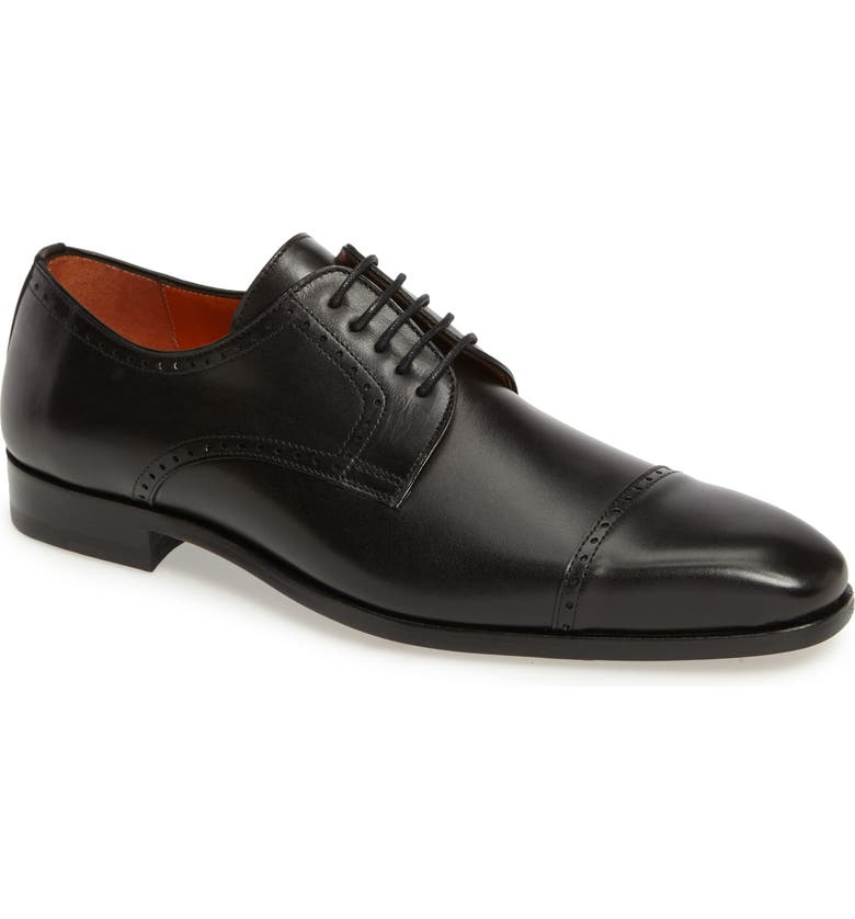MEZLAN Boas Cap Toe Oxford, Main, color, BLACK LEATHER
