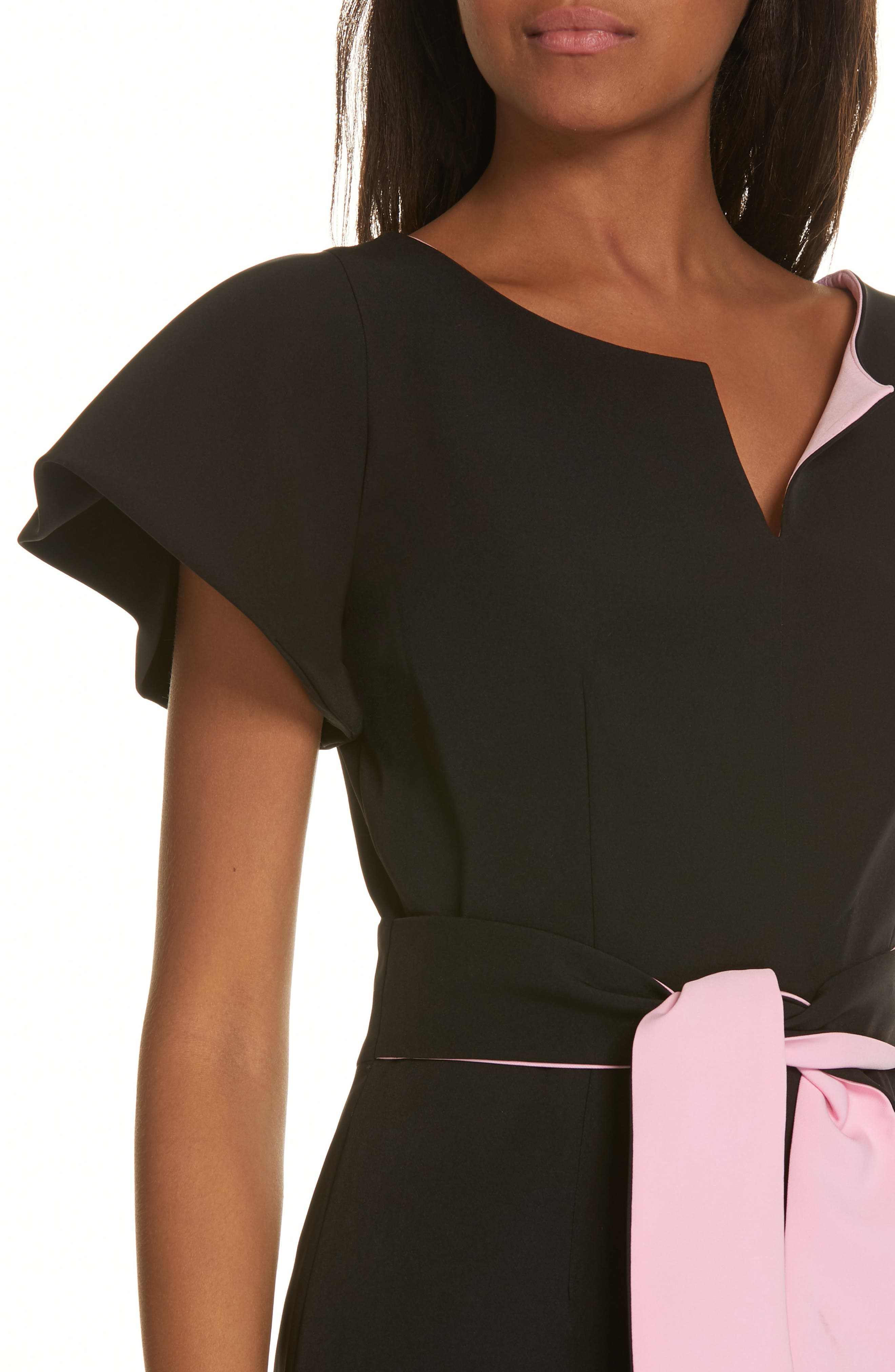 ,                             Tina Italian Cady Belted Dress,                             Alternate thumbnail 4, color,                             001