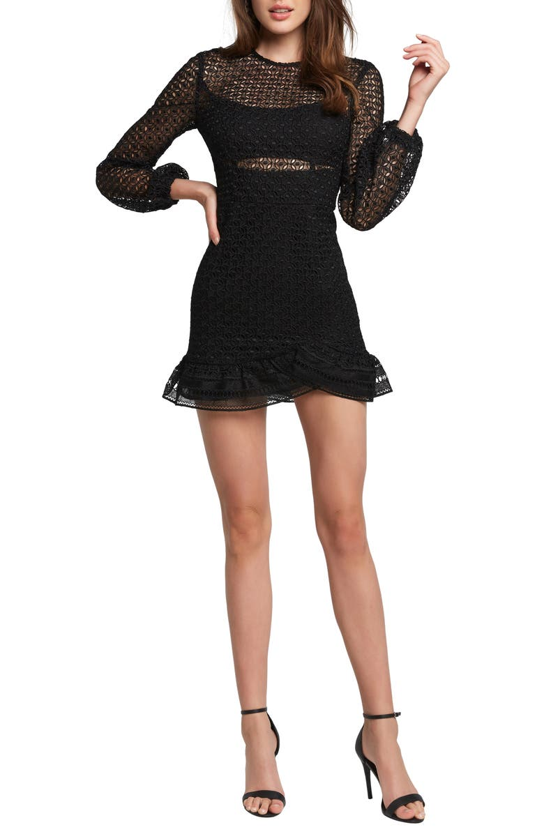 BARDOT Savannah Long Sleeve Lace Minidress, Main, color, BLACK