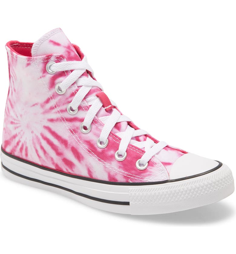CONVERSE Chuck Taylor<sup>®</sup> All Star<sup>®</sup> Tie Dye High Top Sneaker, Main, color, CERISE PINK/ GAME ROYAL/ WHITE