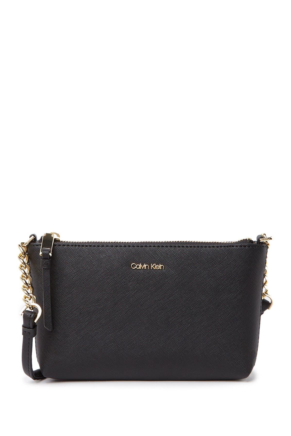 Image of Calvin Klein Hayden Saffiano Leather Key Item Crossbody Bag