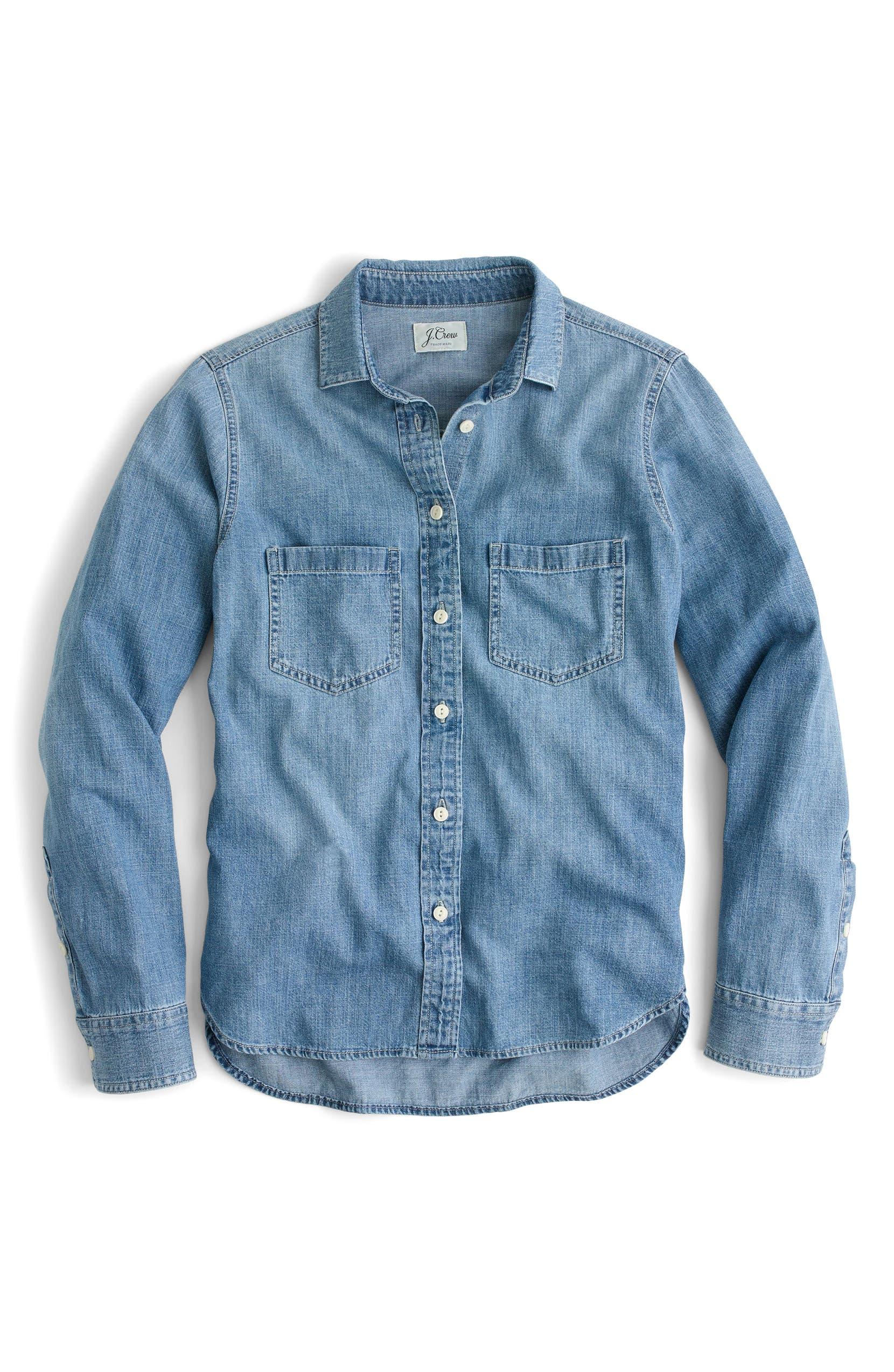 5590d565a J.Crew Everyday Chambray Shirt (Regular & Petite) | Nordstrom