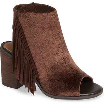Very Volatile Pony Express Fringe Bootie Sandal, Brown