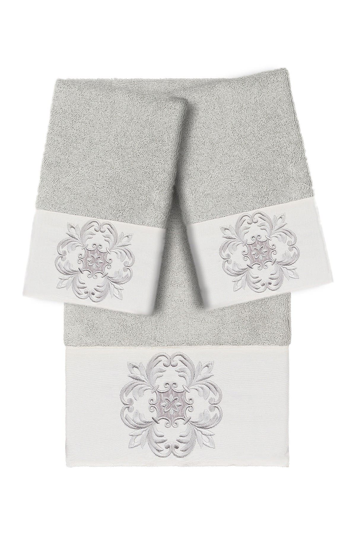 Image of LINUM HOME Alyssa Embellished Hand Towel - Light Gray