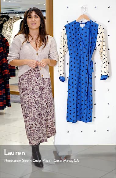 Julia Long Sleeve Silk Wrap Dress, sales video thumbnail