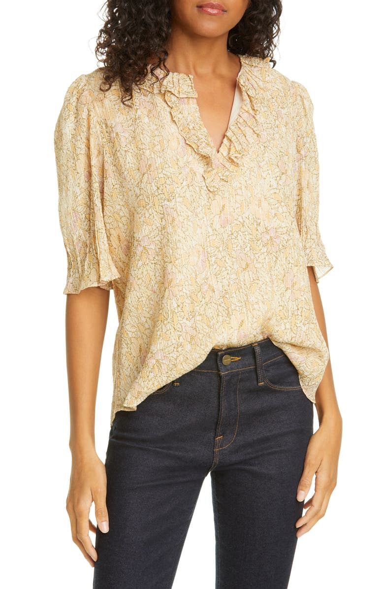 REBECCA TAYLOR Soleil Metallic Floral Cotton & Silk Blend Top, Main, color, 700