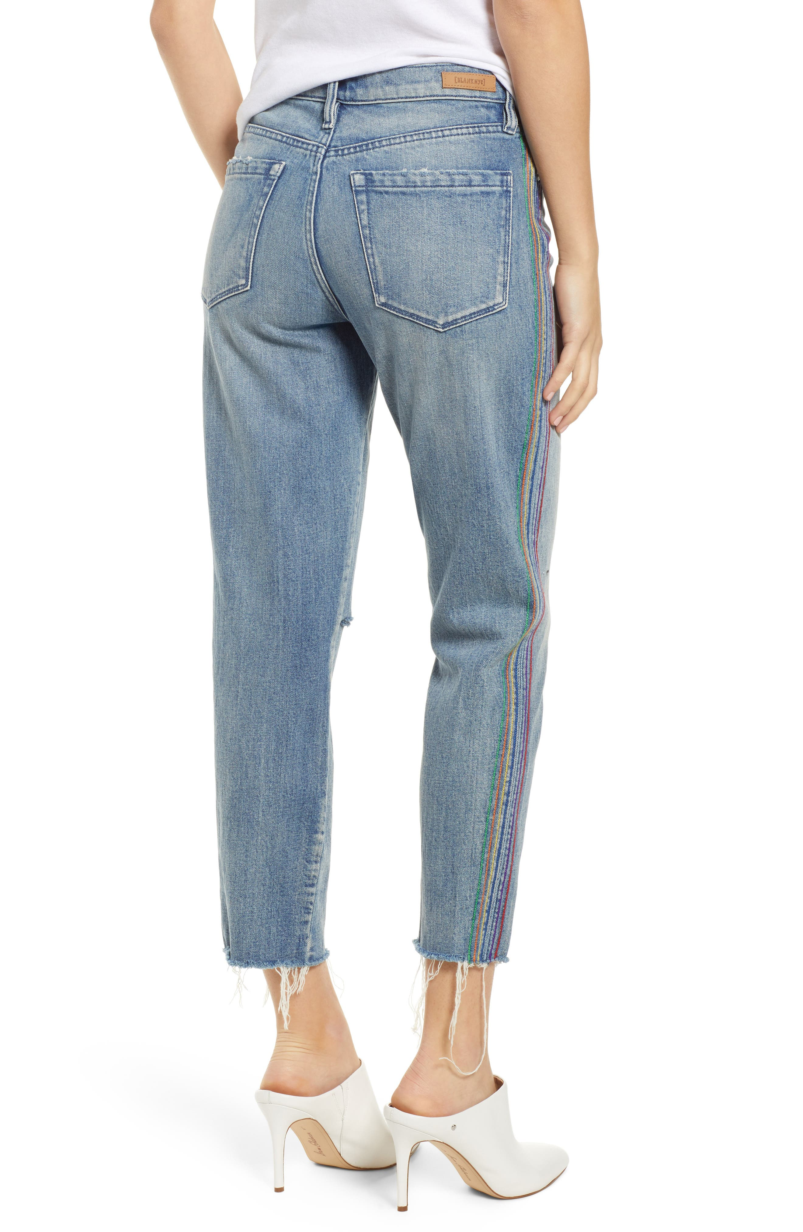 ,                             Rainbow Side Seam Ripped Straight Leg Jeans,                             Alternate thumbnail 2, color,                             400