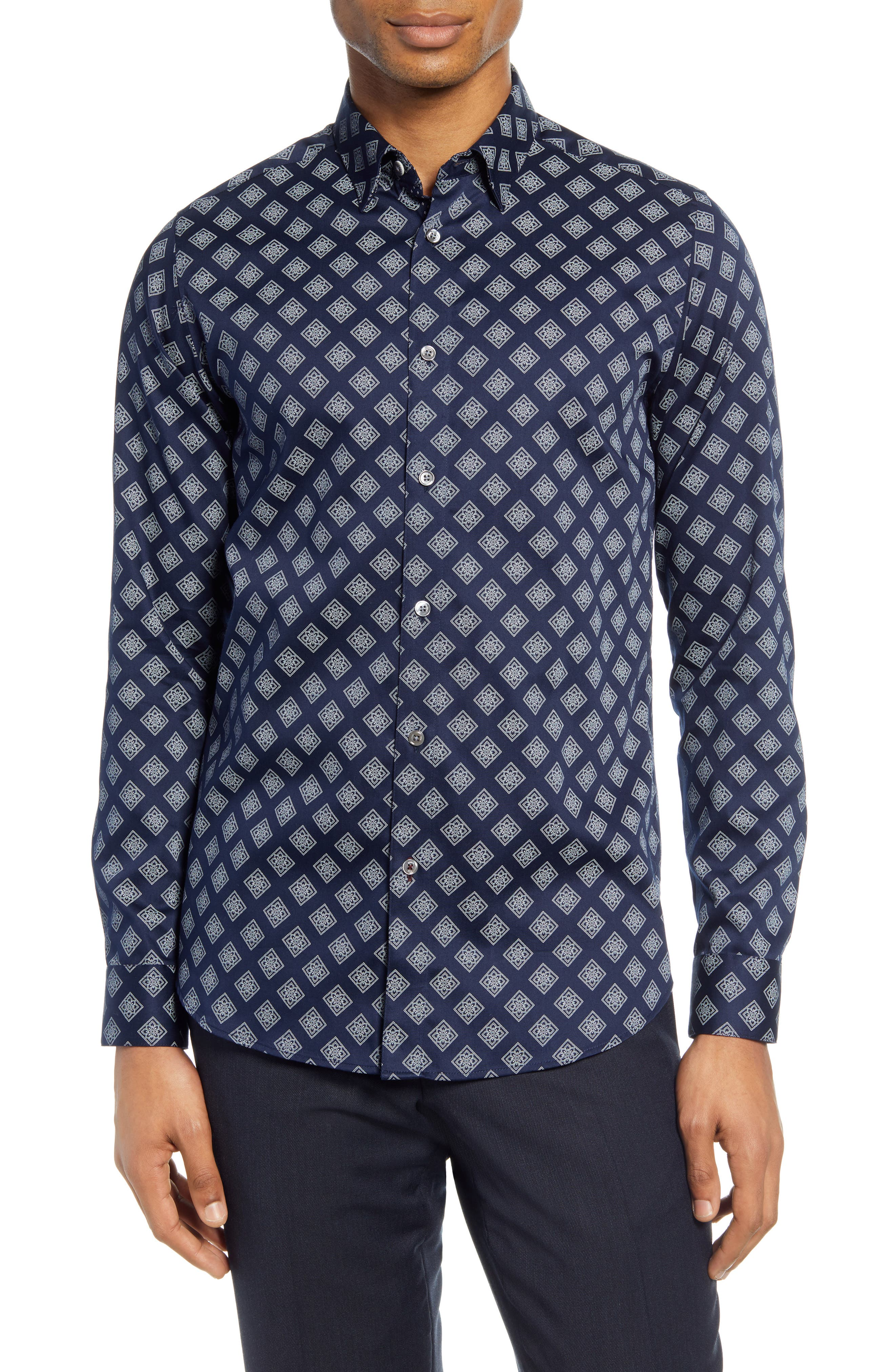 Image of Ted Baker London Tillyou Slim Fit Geo Print Button-Up Shirt
